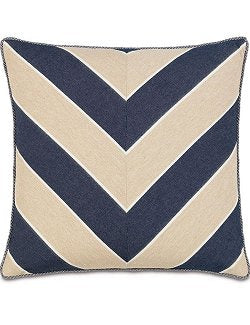 Bosun's Indigo Chevron Accent Pillow - Nautical Luxuries