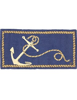 Anchor & Line Hooked Wool Rug - Nautical Luxuries