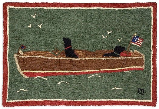 Boating Dogs Hooked Wool Rug