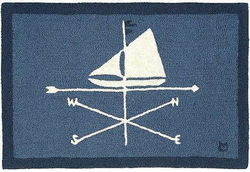 Sailing Sloop Weather Vane Hooked Wool Rug