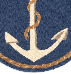 Anchor & Line Round Hooked Wool Rug - Nautical Luxuries