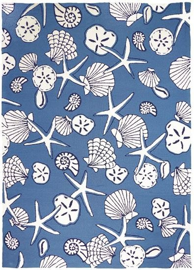 Seashell Spray Hand-Hooked Indoor/Outdoor Rugs