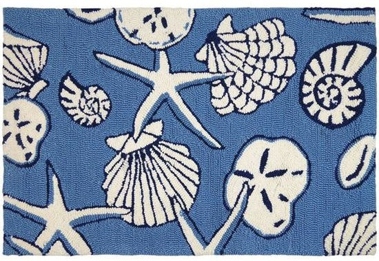 Seashell Spray Hand-Hooked Indoor/Outdoor Rugs - Nautical Luxuries