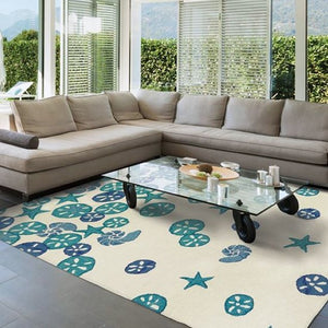 Sand Dollar Cascade Hand-Hooked Indoor/Outdoor Rugs - Nautical Luxuries