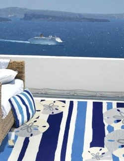 Mediterranean Stripe Hand-Hooked Indoor/Outdoor Rugs - Nautical Luxuries