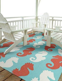 Vibrant Sea Horses Indoor/Outdoor Rugs