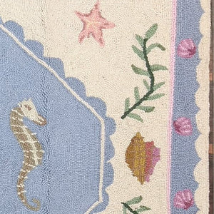 Ocean Rock Mermaid Hooked Wool Rug - Nautical Luxuries