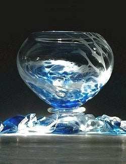 Caleb Nichols Offshore Blown Glass Sculpture Bowl
