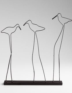 Sandpiper Silhouette Metal Sculpture - Nautical Luxuries