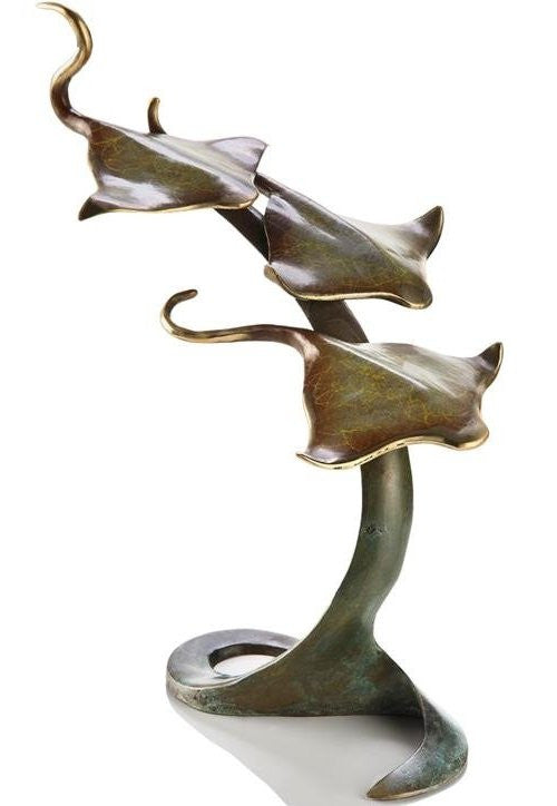 Golden Stingray Trio Sculpture