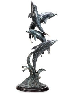 Dolphins At Play Floor Sculpture
