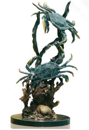 Sparring Bluepoint Crabs Sculpture - Nautical Luxuries