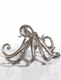 Rustic Silvery Octopus Sculpture