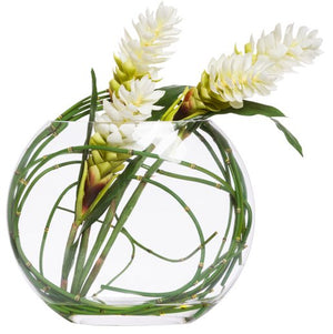 White Ginger Blooms & Horsetail Pillow Vase Yacht Silks Arrangement - Nautical Luxuries