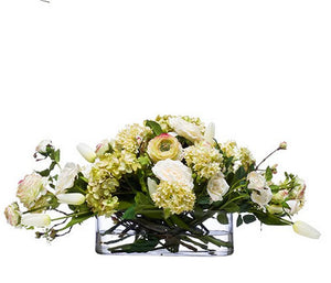Mixed Ivory Blooms Low Yacht Silks Arrangement - Nautical Luxuries