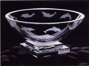 Crystal Dolphin Pedestal Bowl - Nautical Luxuries