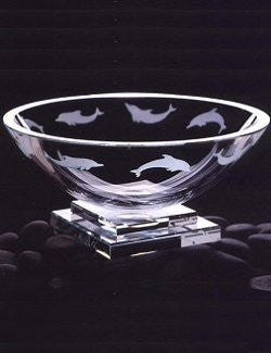 Crystal Dolphin Pedestal Bowl