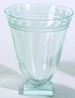 Etched Glass Watermark Pedestal Vase
