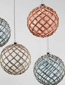 Glittered Fish Net Glass Ball Ornament Set