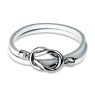 Steel Knot Leather Loop Bracelet - Nautical Luxuries