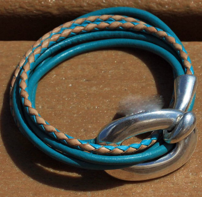 Hook And Eye Hypollergenic Leather Strands Bracelets
