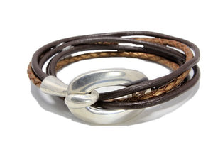 Hook And Eye Hypollergenic Leather Strands Bracelets - Nautical Luxuries