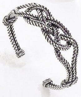 Sterling Silver Carrick Bend Knot Cuff Bracelet - Nautical Luxuries