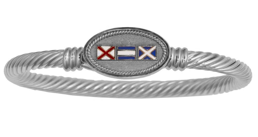 Nautical Signal Flags Custom Initials Twisted Rope Bracelet