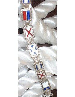 Nautical Signal Flags Custom Letters Link Bracelets - Nautical Luxuries