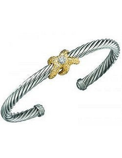Twisted Rope Gold Starfish Cuff Bracelet - Nautical Luxuries