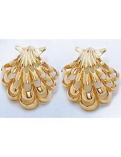 14k Gold Filigree French Clip Shell Earrings