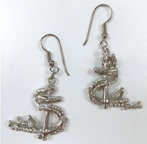 Rope Entwined Anchor Hoop Earrings - Nautical Luxuries