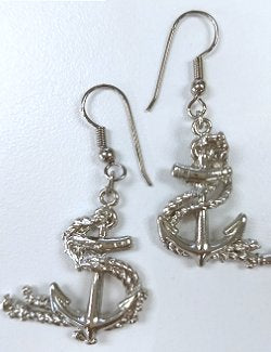Rope Entwined Anchor Hoop Earrings