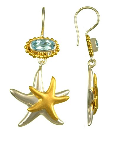 Sea Treasures Starfish Duo Blue Topaz Earrings