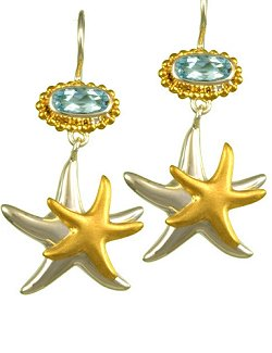 Sea Treasures Starfish Duo Blue Topaz Earrings - Nautical Luxuries