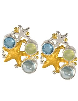 Sea Treasures Aqua Gems Starfish Duo Post Earrings - Nautical Luxuries