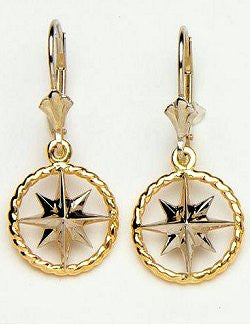 Nautical Line Compass Rose Earrings