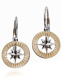 Waypoints 14k Yellow/White Gold Petite Compass Rose Earrings - Nautical Luxuries