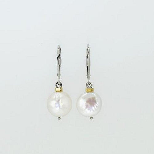 14k Gold Coin Pearl Earrings