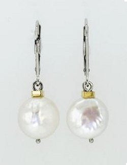 14k Gold Coin Pearl Earrings - Nautical Luxuries