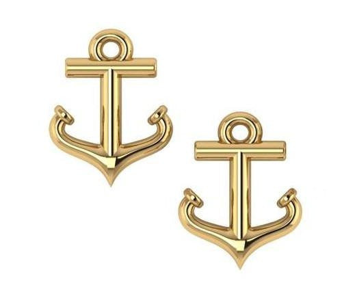 Petite 14k Gold Anchor Stud Earrings - Nautical Luxuries
