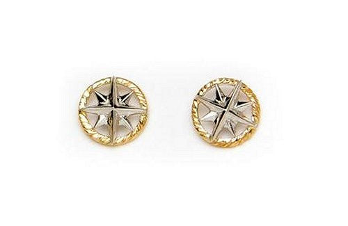 Petite 14k Gold Compass Rose Stud Earrings - Nautical Luxuries