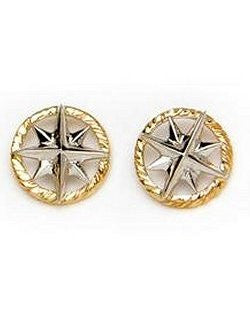 Petite 14k Gold Compass Rose Stud Earrings