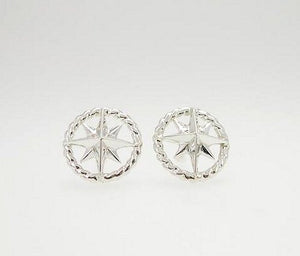 Sterling Silver Rope Ring Compass Rose Stud Earrings - Nautical Luxuries