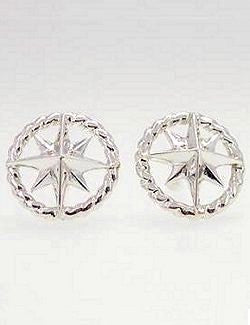 Sterling Silver Rope Ring Compass Rose Stud Earrings