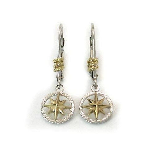 Petite 14k Gold Compass Rose Star Dangle Earrings - Nautical Luxuries