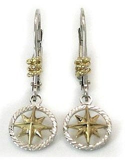 Petite 14k Gold Compass Rose Star Dangle Earrings