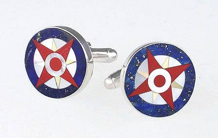 Sterling Compass Rose Cufflink Set - Nautical Luxuries
