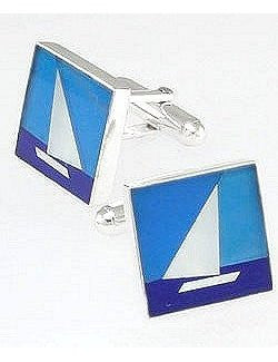 Lapis, Onyx & Mother of Pearl Sailboat Cufflinks