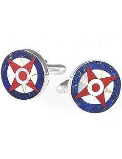Sterling Compass Rose Cufflink Set